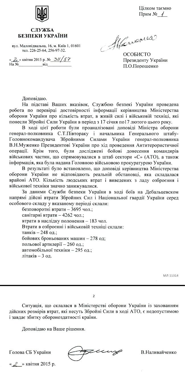 Потери в Дебальцевском котле
