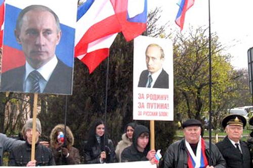 Русские активисты Крыма встретили Владимира Путина