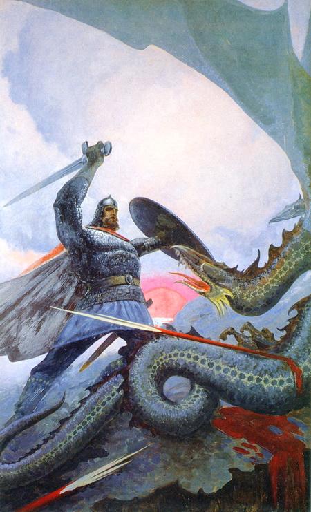 На калиновом мосту (Бой Добрыни со Змеем). Художник Константин Васильев (1974)