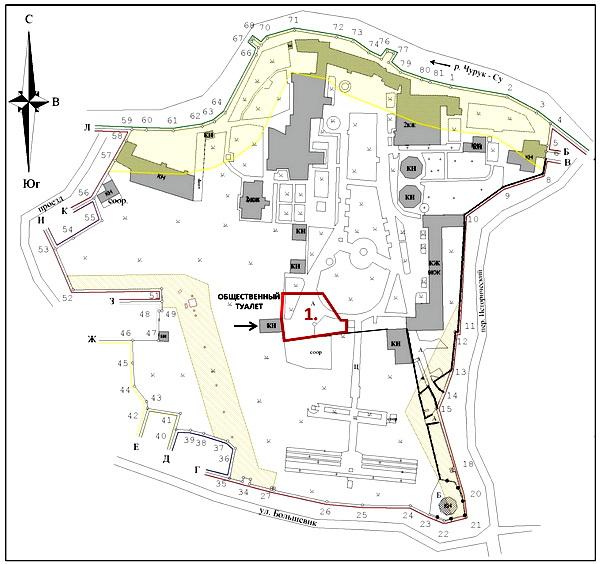 Кадастровый план земельного участка Ханского дворца (2009 год) с границами первоначального земельного участка немецкого военного кладбища (литер 1) по состоянию на июль 1942 года. Эксгумация останков захороненных в 2000-е годы под твердым покрытием дорожек не производилась