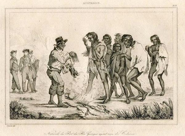 Обмен подарками с дикарями (гравюра, 1837)