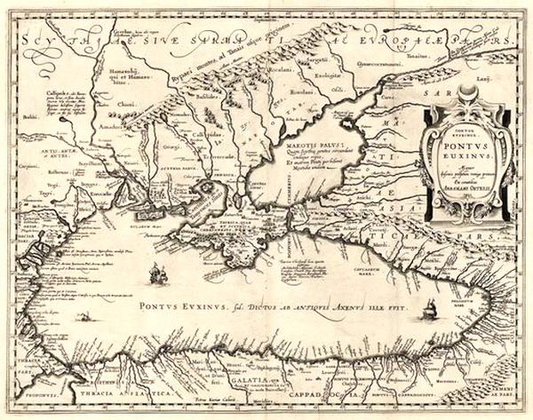 Карта Чёрного моря Абрахама Ортелия из атласа ««Theatrum Orbis Terrarum»