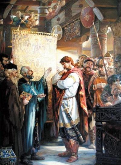 Князь Владимир Красно Солнышко беседует с представителями разных религиозных конфессий