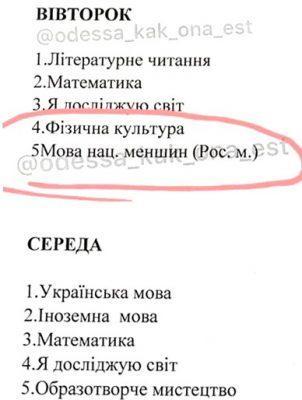 Прошло уже чуть больше года с того момента, когда обучение в школах на Украине стало вестись исключительно на украинском языке. Русский язык теперь преподаётся как «язык национального меньшинства» — при том, что его знает и использует большинство населения страны. Результаты — налицо в школьном расписании занятий.